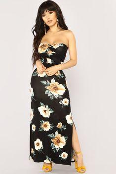 Lizzy Floral Dress - Black Floral