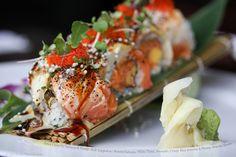 Spicy Crunchy Salmon & Mango Roll Topped with Seared Salmon, White Tuna, Avocado, Crispy Rice Powder & Honey Wasabi Sauce