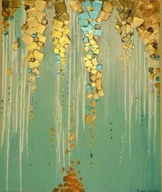 Metallic paint trickles down this canvas  Size: 20 x 24 x 1.5 Inches  Colors: Teals, aquas, white, metallic copper, metallic golds, metallic