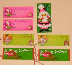 Christmas tags - does anyone else remember these? Can you believe that someone took a picture of them? Fabulous!