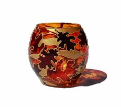 Autumn Leaves Hand Painted Holder
