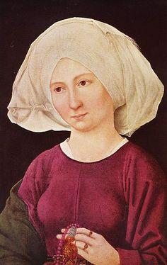 Martin Schongauer (1448-1491, Germany) - Porträt einer jungen Frau / Portrat of a young woman, 1475-80