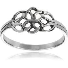 Journee Collection Sterling Silver Celtic Double Knot Ring ($37) ❤ liked on Polyvore featuring jewelry, rings, white, celtic rings, sterling silver charms, sterling silver crown ring, sterling silver crown charm and celtic band ring