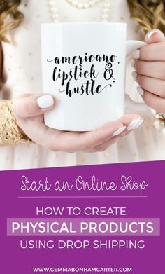 Want to start an online shop? Get the info on creating a line of physical products to sell on Etsy, Amazon, eBay, Shopify, etc using dropshipping manufacturing. Plus a list of manufacturers to get you started! Click through for the free download and instruction guide to start selling!