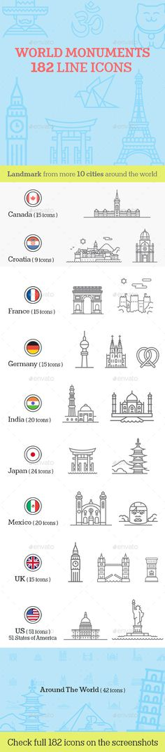 World Monuments Line Icons — Vector EPS #architecture #famous landmarks • Available here → https://graphicriver.net/item/world-monuments-line-icons/11579551?ref=pxcr