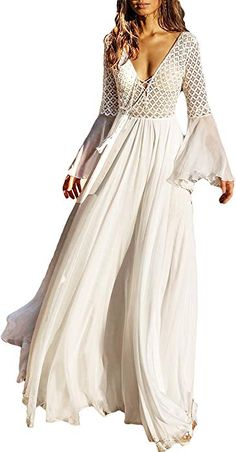 b7ffc6de3f9e Bsubseach White Chiffon Bell Sleeve Beach Long Dresses for Women Sexy Deep  V Neck Hollow Out Beachwear Swimwear Cover up Dress at Amazon Women s  Clothing ...