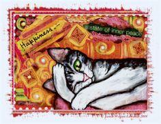 Zen Cat Mixed Media at ArtistRising.com