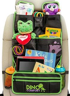 Extra Large Backseat Organizer - More Pockets More Space - Comes With Kick Mat - For Kids Toy Storage and Baby Travel Accessories - Fits iPad Detachable Pocket - Lifetime Money Back Guarantee