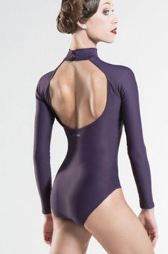 Azel Turtle Neck with Sleeves Microfiber Leotard