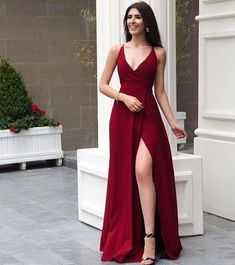 d01a4112b1ad4 Sexy V neck Red A Line Prom Dress with Split Slit, Long Evening Dress for  Party, Formal Gown