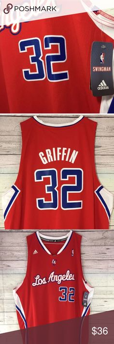 """ADIDAS """"BLAKE GRIFFIN"""" LA CLIPPERS ROAD JERSEY. 100% AUTHENTIC ADIDAS MERCHANDISE. COLOR: RED SIZE: REGULAR MEN'S JERSEY XL adidas Shirts Tank Tops"""