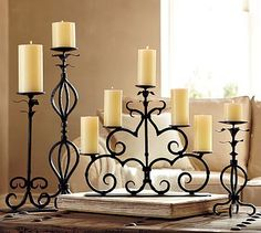 Shop Pottery Barn for hand crafted lanterns to light up any space. Our selection includes both indoor and outdoor lanterns in bronze, silver and wood finishes. Chandelier Bougie, Candle Chandelier, Candle Lanterns, Wrought Iron Candle Holders, Pillar Candle Holders, Candle Stand, Wrought Iron Decor, Modern Outdoor Furniture, Iron Furniture