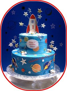 Rocketship 1st Birthday Cake