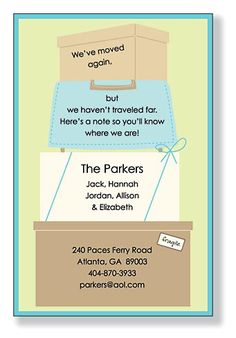 Letting friends and family know your new address & phone number after moving.  Awesome idea!!!