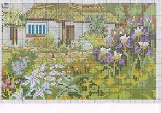 Dom w kwiatach Cross Stitch Designs, Cross Stitch Patterns, Cross Stitch House, Cross Stitch Landscape, House Landscape, Cross Stitching, Needlepoint, Needlework, Vintage World Maps