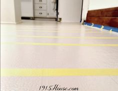 How to Paint Old Linoleum Kitchen Floors - 1915 House Painted Kitchen Floors, Linoleum Kitchen Floors, Painting Linoleum Floors, Linoleum Flooring, Diy Flooring, Painted Floors, Kitchen Paint, Floor Painting, Painting Tips