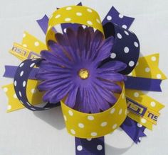 LARGE LSU TIGERS Hairbow Hair Bows purple flower by hmgreer, $12.00