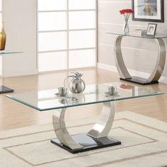 Coaster Furniture Modern Glass Top Coffee Table #coasterfurniture