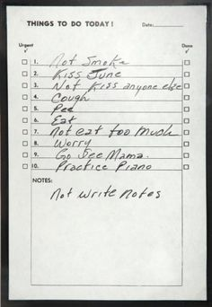 Lined Johnny Cash To-Do List