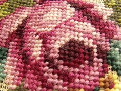 Picture 4 of 11 Bench Covers, Needlepoint Canvases, Pink Roses, Shabby, Cottage, Blanket, Rugs, Crochet, Fabric