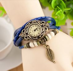 Leaf Leather Bracelet Watch