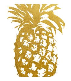 Faux Gold Foil Pineapple Art Print IMPORTANT These Are Not Real