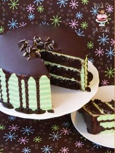 Andes mint chocolate cake. Beautiful! I added the Andes mints to a devils food cake mix - I had altitude issues with the scratch recipe. Still made 3 layers and the mint frosting was great. Might use an easier ganache recipe next time (from Boston Creme Pie recipe) .