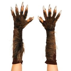 Adult Wolf Costume Gloves, Adult Unisex, Brown