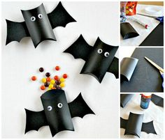 These pillow box bats are the perfect Halloween craft and gift for kids this year. Fill them with candy, or non-candy treats to hand out to friends and family. for best friends candy Pillow Box Bat Treat Containers for Halloween Dulceros Halloween, Bonbon Halloween, Halloween Treat Boxes, Halloween Treats For Kids, Adornos Halloween, Manualidades Halloween, Halloween Favors, Holidays Halloween, Halloween Decorations