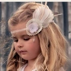Dollcake Rose Tinted Headband w/ Crochet & Feather (Oh So Girly) **ON SALE**