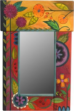 Small Mirror – Colorful mirror with floral motifs painted in lovely rich hues Mirror Painting, Mirror Art, Painting Frames, Mirror Ideas, Painted Chairs, Hand Painted Furniture, Handmade Mirrors, Unique Drawings, Small Mirrors
