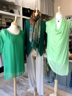 Jade, emerald and minty green blouses heading into the window of #RAFT of #Dunster. Here are Jen's Angels heading into the window of our ‪#‎RAFT‬ of ‪#‎Dunster‬ branch looking fresh in jade, emerald and minty green! info@raftclothing.co.uk or tel. 01643 822204.