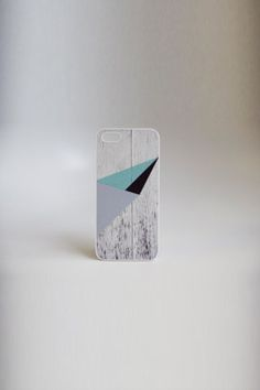 Geometric Color Block On White Wood iPhone case