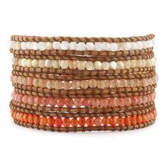 Orange Multi Stone Wrap Bracelet on Natural Brown Leather