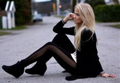 stylefruits discovered by Sweet Sunshine on We Heart It Look Fashion, Fashion Beauty, Autumn Fashion, Funky Fashion, Fashion Hair, Modern Fashion, Teen Fashion, Glam Rock, All Black Outfits For Women