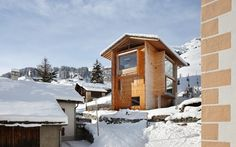 Annalisa and Peter Zumthor's timber houses perch above their age blackened neighbours in Leis in Val, Switzerland (population 20). #chalet