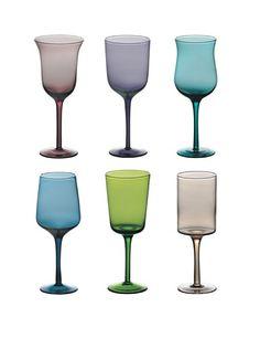 it.buyvip.com  Set di 6 calici in vetro colorato. Diametro: 10 cm.