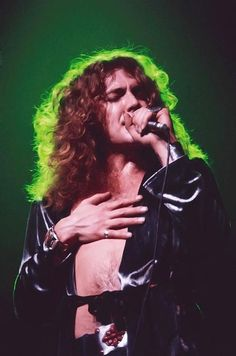 Robert Plant on stage.