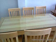 Bàn ăn gỗ sồi kiểu dáng hiện đại 6 ghế