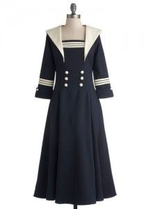Seven Seas Dress. Express your inner seafaring fanatic by donning this vintage-inspired navy dress! 1940s Fashion Dresses, 1940s Dresses, Retro Fashion, Vintage Fashion, Club Fashion, Lolita Fashion, Navy Dress Outfits, Emo Dresses, Cute Dresses