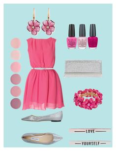 """""""Pretty in pink"""" by hollbobbo ❤ liked on Polyvore featuring Jimmy Choo, OPI, Deborah Lippmann and Rina Limor"""