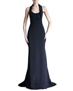 Carolina Herrera  Silk Crepe and Satin Halter Gown $3,690.00