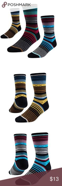 Mens Dress Socks Striped Crew 3 Pack Size 8 - 12 SEESILY business dress socks with classic colorful striped and crew style will show men's glamour. Suit for people who focus on fashion in work, dressier occasions and any casual occasions Socks are made from 73% combed cotton, 24% polyamide, 3% spandex.finest combed cotton with 220 needle process provide a top quality Underwear & Socks Dress Socks