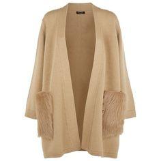 Escada Sapotto Fur Pocket Cardigan ($1,170) ❤ liked on Polyvore featuring tops, cardigans, cardigan top, ribbed cardigan, pocket tops, relaxed fit tops and pocket cardigan