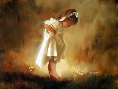 Charming baby girl beautiful painting