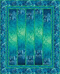 Cool Waters - PTN616     Kate Mitchell of Kate Mitchell Quilts     Based on Island Paradise - Cayuga *NEW collection - by Michele Scott of The Pieceful Quilter, www.katemitchellquilts.com