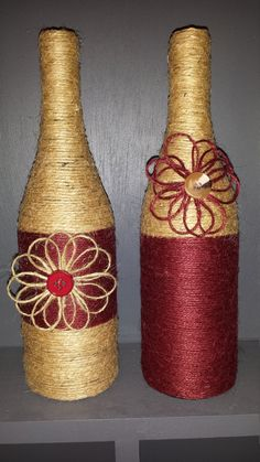 Jute Wrapped wine bottles by ItsaWrapDesigns on Etsy