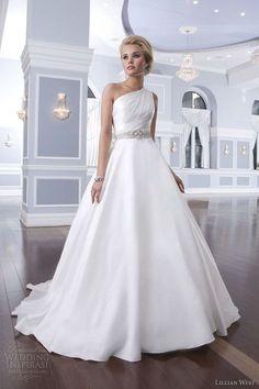 one shoulder beach wedding dress