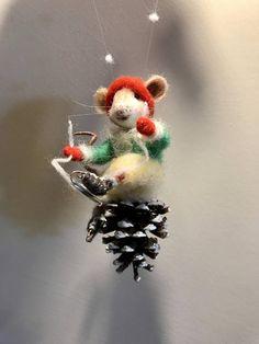 Ratón ratón de fieltro animales de fieltro de aguja de cono