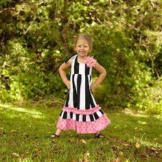 Black Stripe Pink Dot Halter Maxi Dress